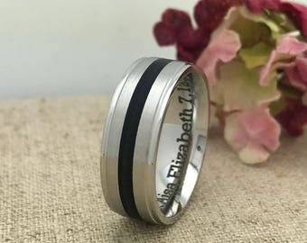 Stainless Steel Wedding Ring, Personalized Custom Engraved Anniversary Ring, Two ToneWedding Ring
