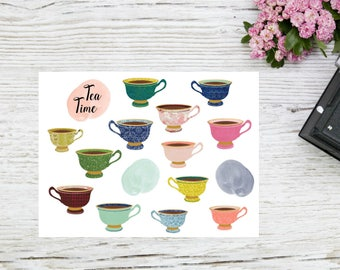 Planner stickers tea time tea cups