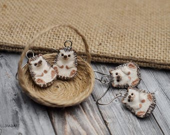 Hedgehog Earrings MADE TO ORDER Hedgehogs Miniature Jewelry Animal Totem