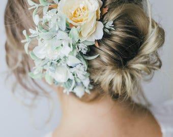 Blue and Peach Flower Hair vine, flower hair comb, bridal headpiece, ivory hairpiece, Blue wedding hair comb, woodland wedding, peach floral