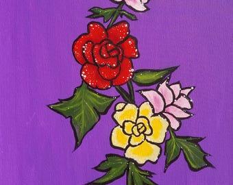 Original Acrylic Painting, Acrylic Floral