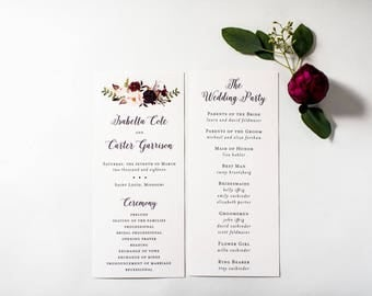 NEW!  isabella wedding programs (sets of 10)  // burgundy watercolor floral gold blush romantic calligraphy custom wedding program