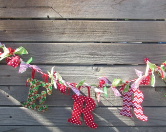 4' Christmas Garland Merry Felt Garland Red Green Merry Garland Holiday Garland Merry Felt Swag Christmas Decor Candy Cane Fabric Garland
