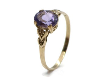 Amethyst Solitaire Ring, Purple Amethyst Ring, Amethyst Ring, Amethyst Solitaire, Gold Amethyst Ring, Amethyst, Purple Amethyst Solitaire