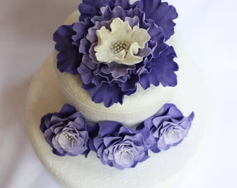 Lavender wedding cake flowers, 4pcs Xl Peony Fondant flowers purple ombre edible cake topper decorations vintage birthday bridal baby shower
