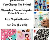 Kids Cloth Napkin Set (Eco Friendly Napkins, Unpaper Towel, 10 Inch Square Napkins, Colorful Napkins, Childrens  Gift, Homeschool Lunch)