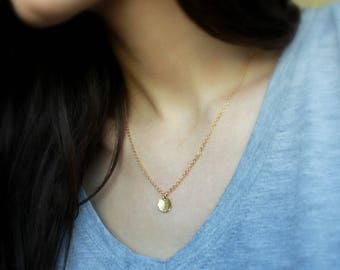 Gold Filled Disc Necklace ( Dainty Jewellery minimal necklace everyday jewellery gold necklace simple necklace delicate jewellery minimalist