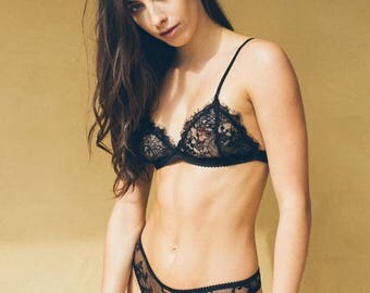 Darcy French Lace Bralette Black & White