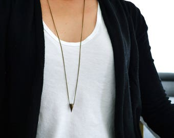 Antique Brass Spike Necklace - Layering necklace