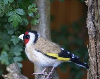 Needle Felt Goldfinch Bird Sculpture