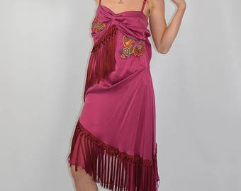 Vintage Authentic John Galliano Bias Cut Deep Pink Fringed Dress
