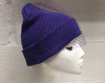 Purple Veiled Beanie