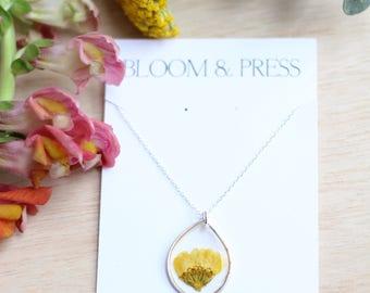Yellow Chrysanthemum Mum Pressed Flower Necklace