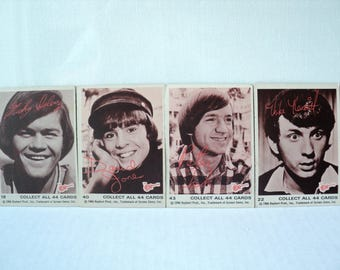 The Monkees Fan Trading Cards 1966 TV Show Sepia Tone Good Condition Davy Jones, Mickey Dolenz, Peter Tork, Mike Naismith Collector's Item