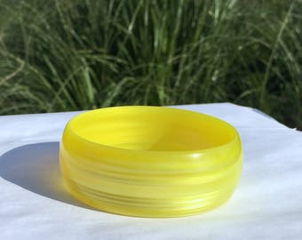 Vintage Yellow Lucite Bangle Pearlized Plastic Bracelet