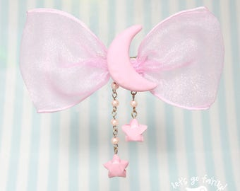 Pastel Pink Kawaii Moon Bow Hairclip - Fairy Kei - Decora - Lolita accessory - quirky accessory - Let's Go Fairily
