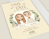 Custom Save the Date |  Couple Portrait Illustration 5x7