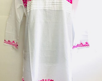 Women 100% cotton white floral embroidered ethnic Indian Kurti kurta tunic dress top Mexican tunic long sleeve Large