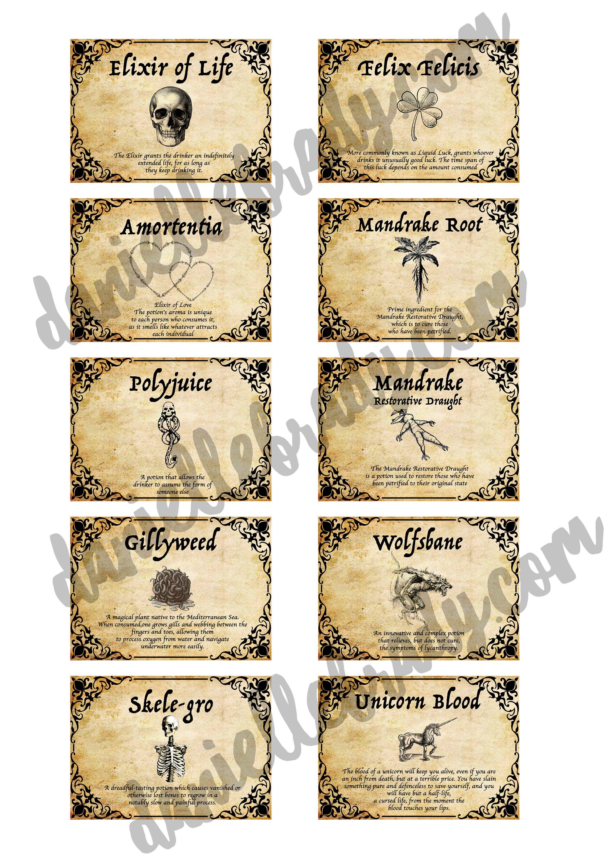 Favori Stampabile Harry Potter ispirato pozione etichette foglio Collage  BX86