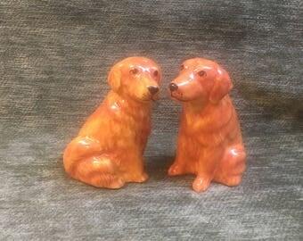Dog Salt and Pepper Shakers, Golden Retriever Shakers, Labrador Retriever Shakers, Brown Dog Salt and Pepper, Ceramic Dog Shakers, Thailand