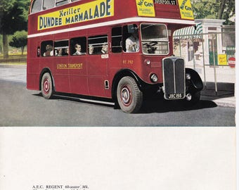 Red London Bus British 50s car advert Daimler transport Dundee Marmelade Gin ad veteran motoring vintage print gift for him car lover