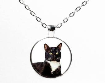 Round Silver Tuxedo Cat Heart Necklace - Cat Jewelry - Kitten Jewelry - Pendant Necklace - Cat Lover Gift