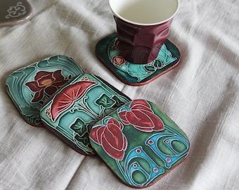 """""""Art Deco"""", vintage - effect ceramic tile coaster - Burgundy and green"""