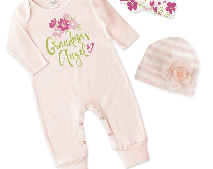 Grandma's Baby Girl Outfit, Newborn Baby Girl Coming Home Gift, Baby Girl Take Home Hospital Outfit Grandma Tesa Babe RS810BH000817