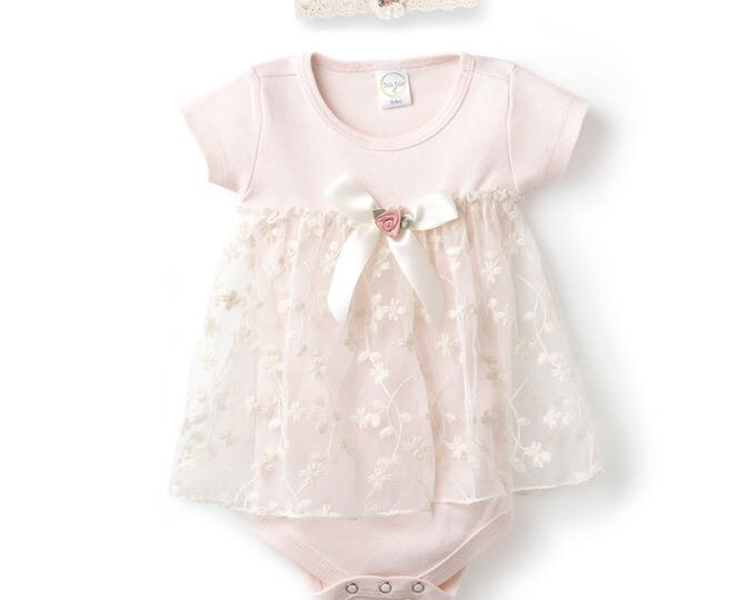Easter Baby Girl Lace Dress, Newborn Girl Outfit, Easter Baby Girl Onesie Skirted Romper Pink Floral, Girl Pink Lace Romper, Lace Headband