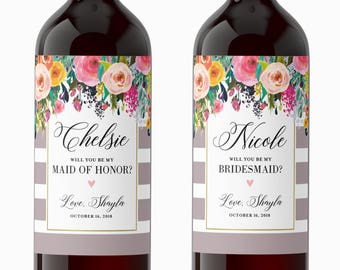 Will You Be My Bridesmaid Wine Label, Bridesmaid Proposal Wine Label, Bridesmaid Gift, Maid of Honor Wine Label (Love Bloom)