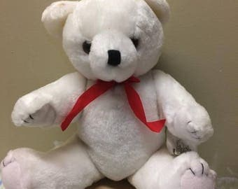 Bear with Red Bow and Stitched Toes - White Plush
