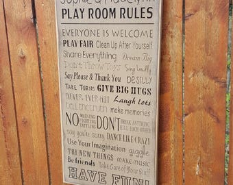 """Personalized Carved Wooden Sign - """"Play Room Rules"""""""