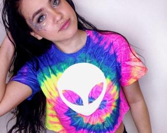 Tie Dye Rave Crop Top • Alien Crop Top • Music Festival Clothing • Tumblr Crop Top • Rave Outfit « cd100neonrainbow «« (crew, td tee/sc) «