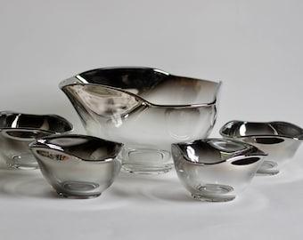 Mid Century Queens Lusterware Silver Ombre Triangular Salad Bowl Set 5 pcs
