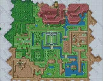 Zelda Light World A Link to the Past Cross Stitch Pattern World Map