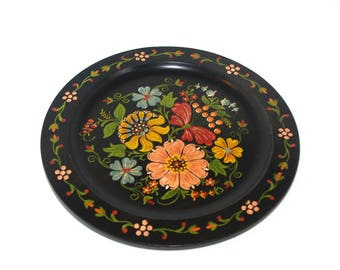 Polish Black Folk Plate Wooden Plate Decorative Serving Plate Home decor Floral Wood Plate Hand painted Handmade Made in Poland USSR soviet