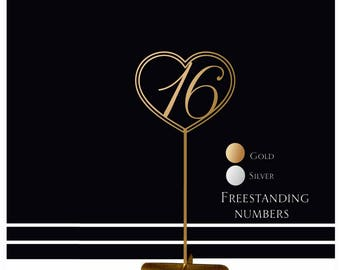 SALE Freestanding table numbers. Wedding table numbers. Gold numbers.