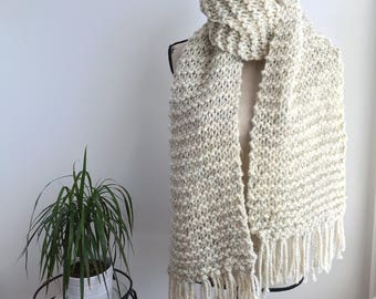 READY TO SHIP Cream wheat extra long fringed super scarf, cream tweed fringed scarf, extra long scarf, super scarf, cozy scarf, knit wool sc