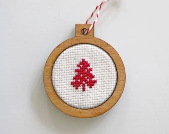 Christmas tree decoration classic tree silhouette cross stitch in laser cut wood frame by Canadian Stitchery
