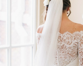 MARY | Chapel Length, English Net Veil, Long Veil, Simple Veil, Soft Veil, Waltz veil, Cathedral veil