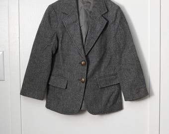 Girl's 6X: Wool School Blazer, Gray, Brass Buttons, Front Pockets, by Merry Simmons for Imp Girls