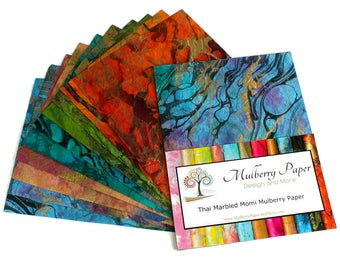 """Marbled Mulberry Momi  Paper in Assorted Colors for Arts, Crafts and Scrapbooking (10 Sheets of 8.5"""" x 11"""" Paper)"""