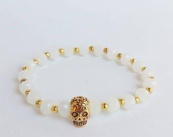Sugar Skull Bracelet, Sugar Skull Jewelry, dia de los muertos, day of the dead, golden skull, Antique Skeleton, stacking bracelets, gift her