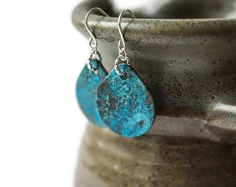 Turquoise and Sterling Silver Teardrop shaped Earrings, Patina Earrings, Blue patina earrings