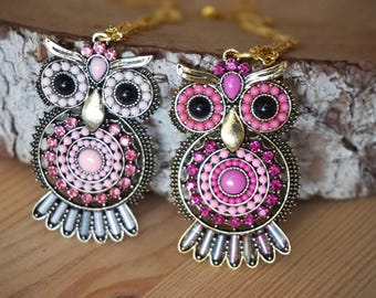 Pink owl necklace Wise Owl jewelry Barn Owl pendant Owl charm necklace Gold bird necklace Owl gifts Unique gifts for teachers Teenager gifts