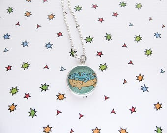 Donut Cat Necklace, Cute Food, Kitty Pendant, Teal Jewelry, Funny Kitty, Cat Lover Gift, Silver Plated, Ball Chain