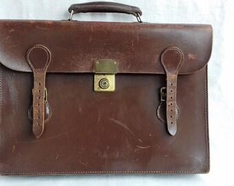 Vintage Brown Leather Satchel Briefcase