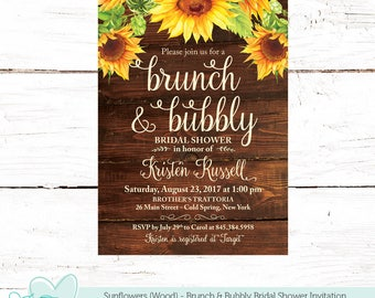 Sunflowers Brunch and Bubbly Bridal Shower Invitation with Wood Background Printable, Bridal Brunch, Bridal Shower Invite, Flowers, 42S