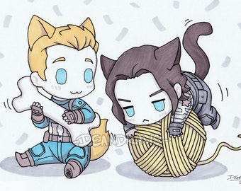 Puppy!Steve and Kitty!Bucky (PRINT)