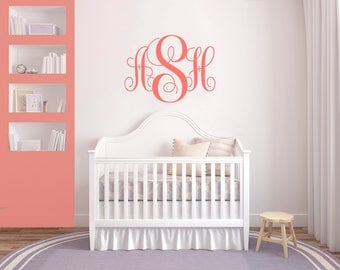 Coral Monogram Wall Decal Initial Wall Decal Coral Nursery Decal Monogram  Sticker Nursery Decal Coral Nursery